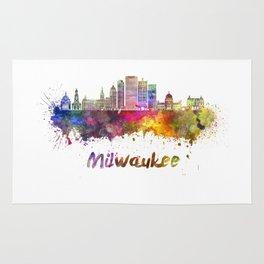 Milwaukee V2  skyline in watercolor Rug
