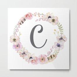 Floral Wreath - C Metal Print