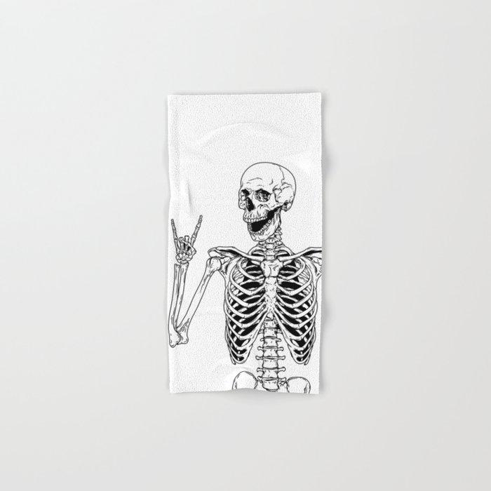 Rock and Roll Skeleton Hand & Bath Towel