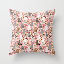 Cat Flowers cute spring summer garden cat lady pattern gift for cat person cat breed pet portraits  Throw Pillow