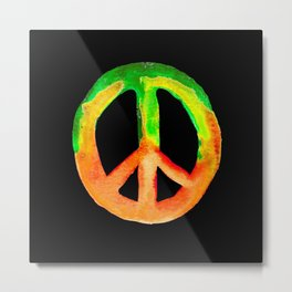 Green Orange Yellow Watercolor Tie Dye Peace Sign Metal Print