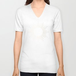 Simply Sunburst in White Gold Sands on White Unisex V-Neck