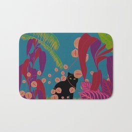 Black Cat In The Outside World Bath Mat