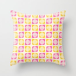 Mid Century Modern Pattern 273 Pink and Yellow Throw Pillow