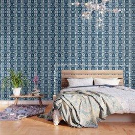 Tie dye, Shibori, indigo, chevron print Wallpaper
