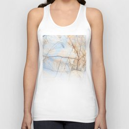 Cotton Latte Marble - Ombre blue and ivory Unisex Tank Top