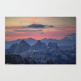 Sunset from Piz Boe Dolomites Italy Canvas Print