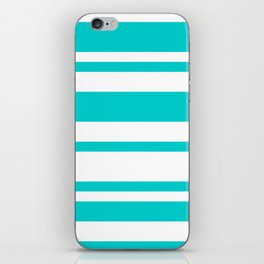 Mixed Horizontal Stripes - White and Cyan iPhone Skin