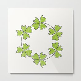 four-leaf clover leaves pattern Metal Print