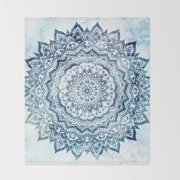 BLUE JEWEL MANDALA Throw Blanket