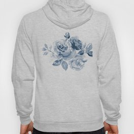 Blue and White Rose Bouquet Hoody