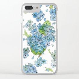 Blue Hydrangea Watercolor Clear iPhone Case