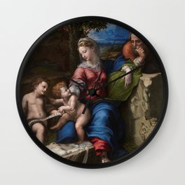 "Raffaello Sanzio da Urbino ""The Holy Family below the oak"", 1518 Wall Clock"