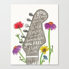 You belong among the wildflowers. Tom Petty quote. Watercolor guitar illustration. Hand lettering. Canvas Print