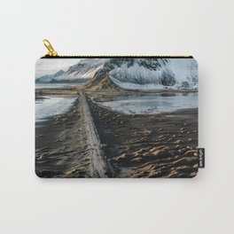Icelandic black sand beach and mountain road - landscape photography Carry-All Pouch