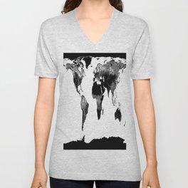 World Map  Black & White Unisex V-Neck