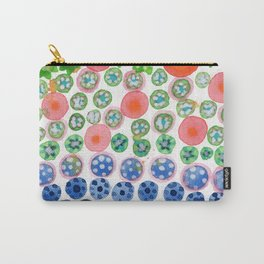 Playful Green Stars and Colorful Circles Pattern Carry-All Pouch