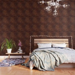 Burnished Rich Brown Tooled Leather Wallpaper