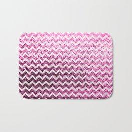 Glitter Sparkly Bling Chevron Pattern (pink) Bath Mat