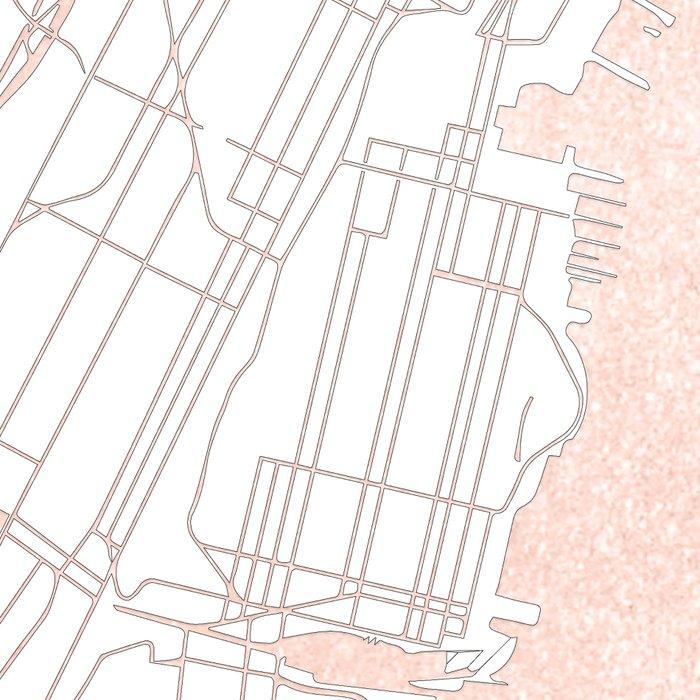 new york city white on rosegold street map leggings