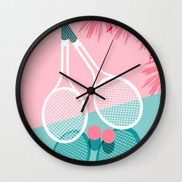 Sportin' - retro minimal pastel neon throwback memphis style pop art tennis sport court player Wall Clock