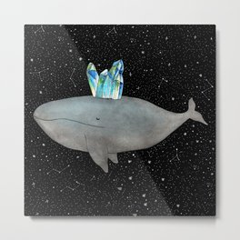Whale with crystals Metal Print