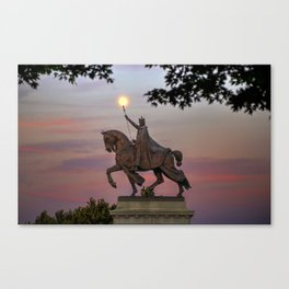 Moon over the St. Louis Statue Canvas Print