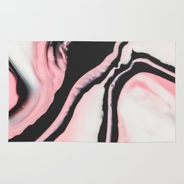 Modern Girly Coral Pink Black Marble Paint Rug