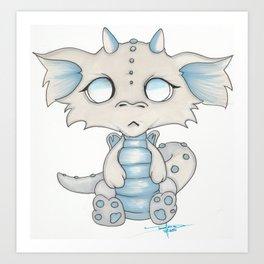 White Dragon Chibi Art Print