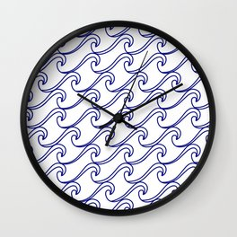Rough Sea Pattern - blue on white Wall Clock