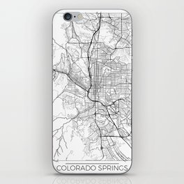 Colorado Springs Map White iPhone Skin