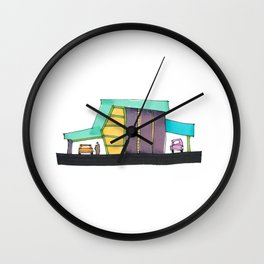 Retro Auto Shop Illustration 101 Wall Clock