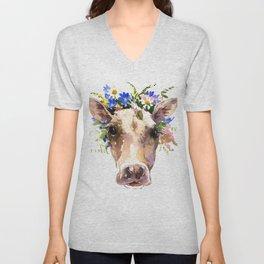 Cow Head, Floral Farm Animal Artwork Unisex V-Neck