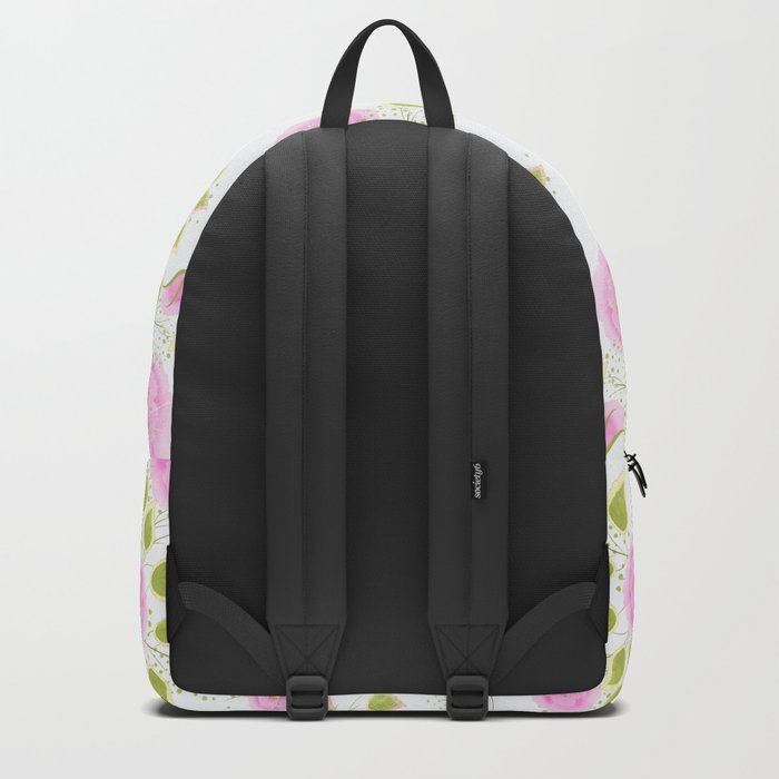 Pink flowers on a white background Backpack
