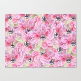 Shocking Pink Flora Gems Canvas Print