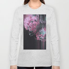 Glitch Pink Hydrangea Long Sleeve T-shirt