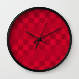 Red Checkerboard Pattern Wall Clock