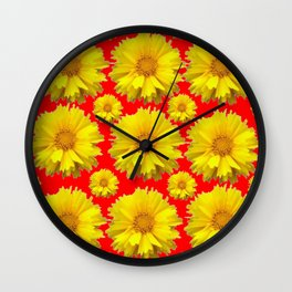 """YELLOW COREOPSIS """"TICK SEED"""" FLOWERS RED PATTERN Wall Clock"""