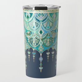 Art Deco Double Drop in Blues and Greens Travel Mug