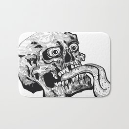 Skull with a Wicked Tongue Bath Mat