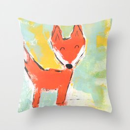 Bright and Happy Fox Throw Pillow
