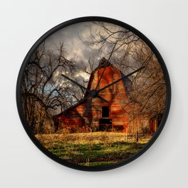 Red Barn - Rustic Barn in Shadows on Fall Day in Oklahoma Wall Clock