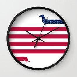 Patriotic Dachshund Wall Clock