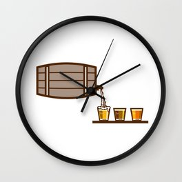 Beer Flight Keg Pouring on Glass Retro Wall Clock