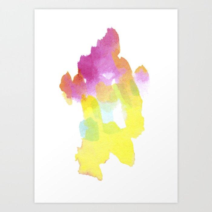Color Island Watercolor. Bright and warm colors. Art Print