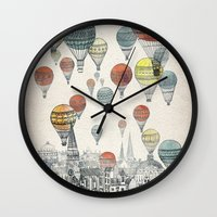 black Wall Clocks featuring Voyages over Edinburgh by David Fleck