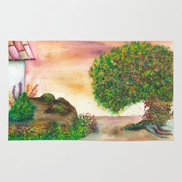 Countryside Watercolor Illustration Rug