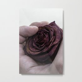 Hand Clutching a Dying Rose Metal Print
