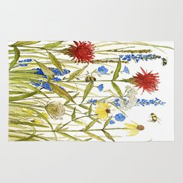 Garden Flower Bees Contemporary Illustration Painting Rug