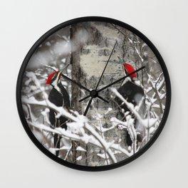 Woodpeckers in Winter Wall Clock